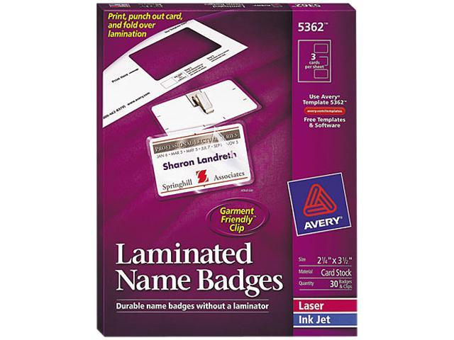 Avery 5362 Self-Laminating Laser/Inkjet Printer Badges, 2 x 3-1/4, White, 30/Box