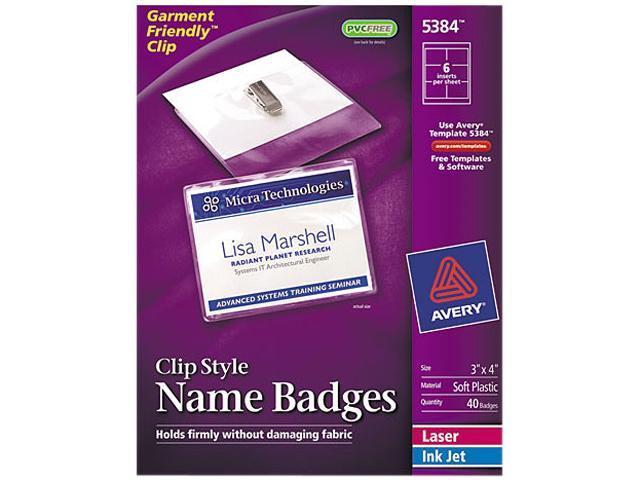 Avery 5384 Badge Holders w/Laser/Inkjet Inserts, Top Load, 3 x 4, White, 40/Box