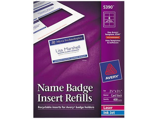Avery 5390 Additional White Laser/Inkjet Inserts, 2-1/4 x 3-1/2, White, 400/Box