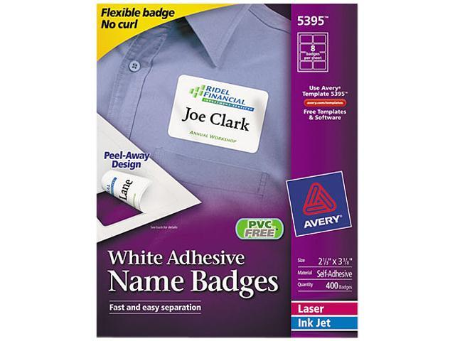 Avery 5395 Flexible Self-Adhesive Laser/Inkjet Name Badge Labels, 2-1/3 x 3-3/8, WE, 400/Bx