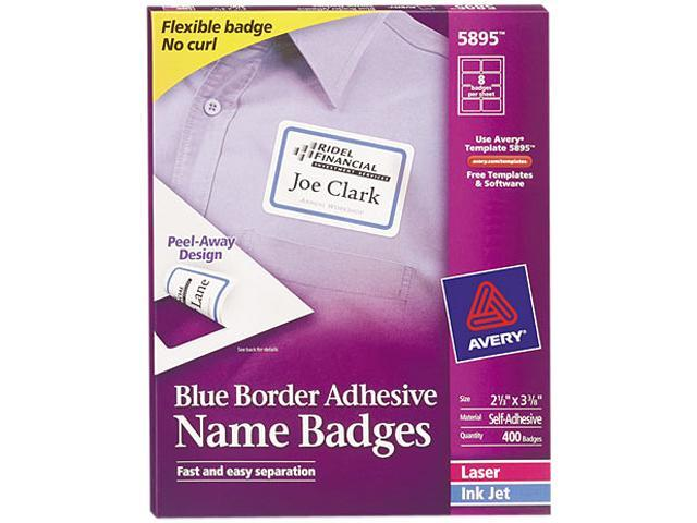 Avery 5895 Flexible Self-Adhesive Laser/Inkjet Name Badge Labels, 2-1/3 x 3-3/8, BE, 400/Bx