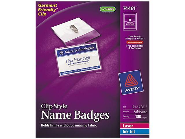 Avery 74461 Badge Holders w/Laser/Inkjet Inserts, Top Load, 2-1/4 x 3-1/2, White, 100/Box