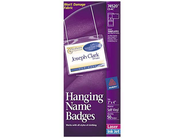 Avery 74520 Neck Hanging-Style Flexible Badge Holders, Top Load, 3 x 4, White, 50/Box