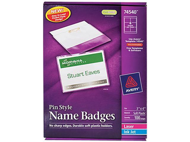 Avery 74540 Badge Holders w/Laser/Inkjet Inserts, Top Loading, 3 x 4, White, 100/Box