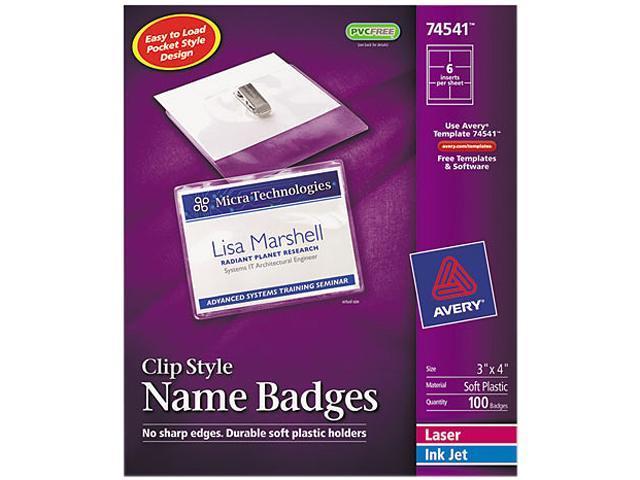 Avery 74541 Badge Holder Kit w/Laser/Inkjet Insert, Top Load, 3 x 4, White, 100/Box