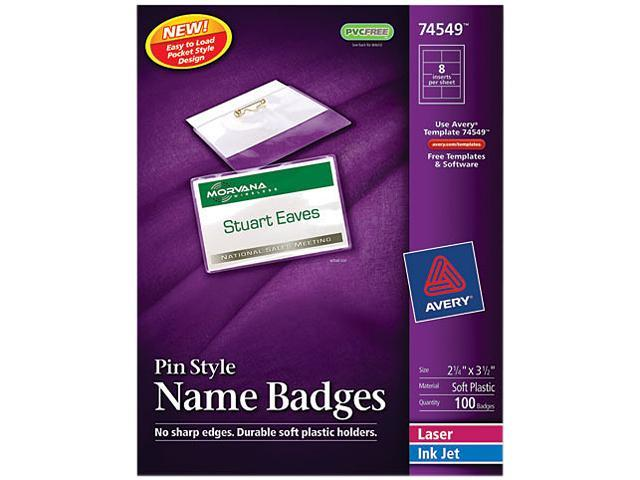 Avery 74549 Badge Holders w/Laser/Inkjet Inserts, Top Loading, 2-1/4 x 3-1/2, White, 100/Box