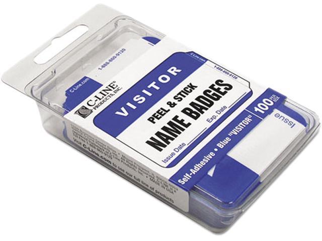 C-line 92245 Self-Adhesive Name Badges, 2 x 3-1/2, Blue, 100/Box