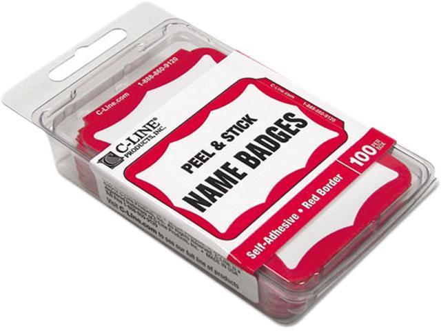 C-line 92264 Self-Adhesive Name Badges, 2 x 3-1/2, Red, 100/Box