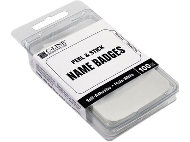 C-line 92277 Self-Adhesive Name Badges, 2 x 3-1/2, White, 100/Box