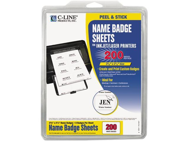 C-line 92377 Self-Adhesive Inkjet/Laser Printer Name Badges, 2-1/3 x 3-3/8, White, 200/Box
