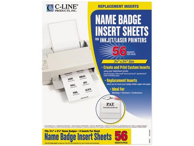C-line 92423 Additional Laser/Inkjet Badge Inserts, 2 x 3-1/2, White, 56/Pack