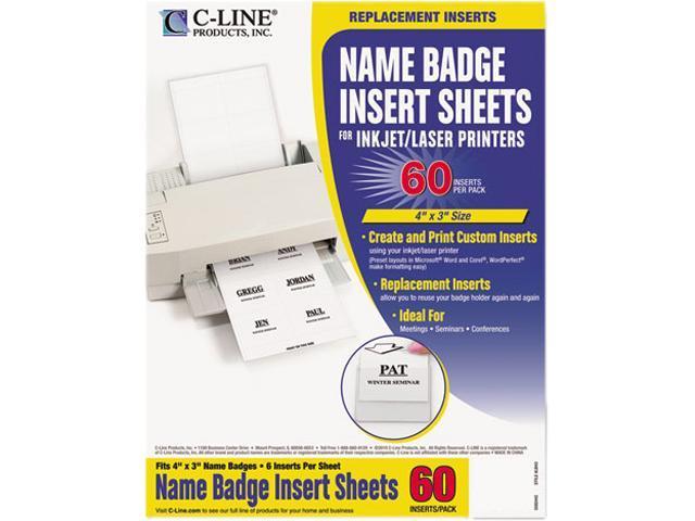 C-line 92443 Additional Laser/Inkjet Badge Inserts, 3 x 4, White, 60/Pack