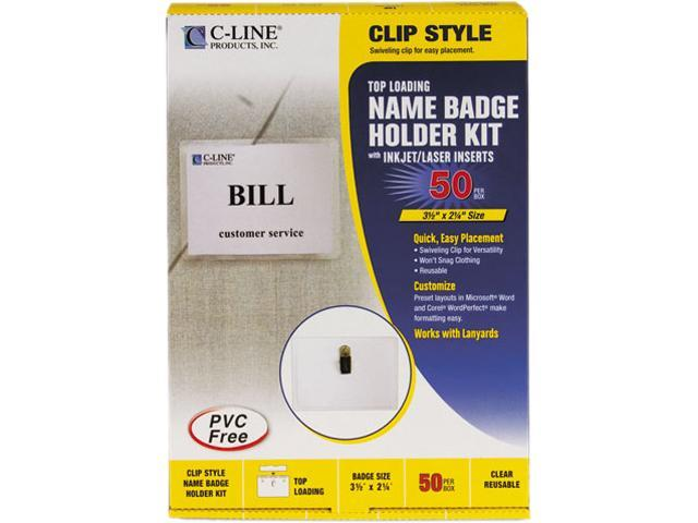 C-line 95523 Badge Holder Kits, Top Load, 2-1/4 x 3-1/2, White, 50/Box