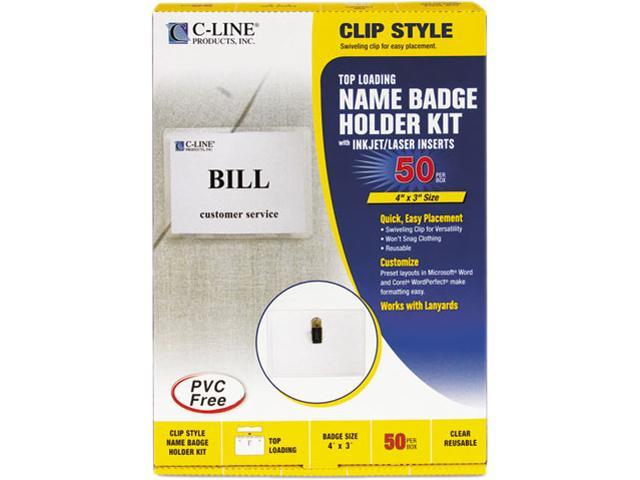 C-line 95543 Badge Holder Kits, Top Load, 3 x 4, White, 50/Box