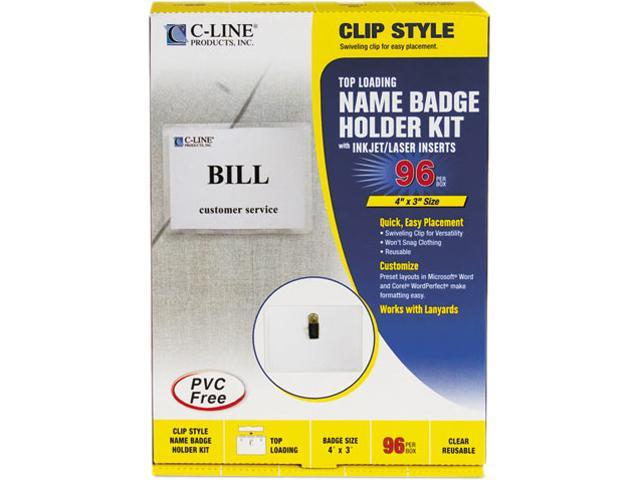 C-line 95596 Badge Holder Kits, Top Load, 3 x 4, White, 96/Box