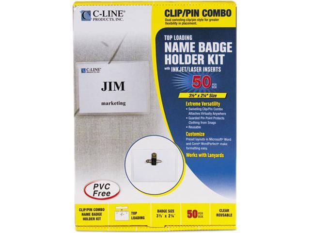 C-line 95723 Badge Holder Kits, Top Load, 2-1/4 x 3-1/2, White, 50/Box