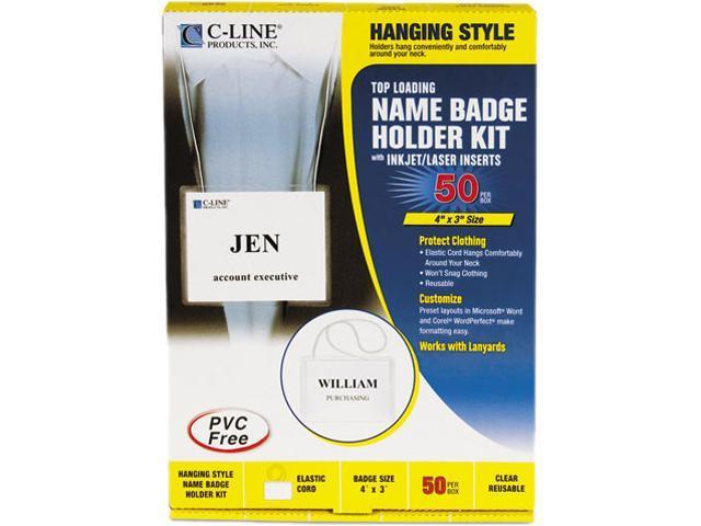 C-line 96043 Badge Holder Kits, Top Load, 3 x 4, White, 50/Box