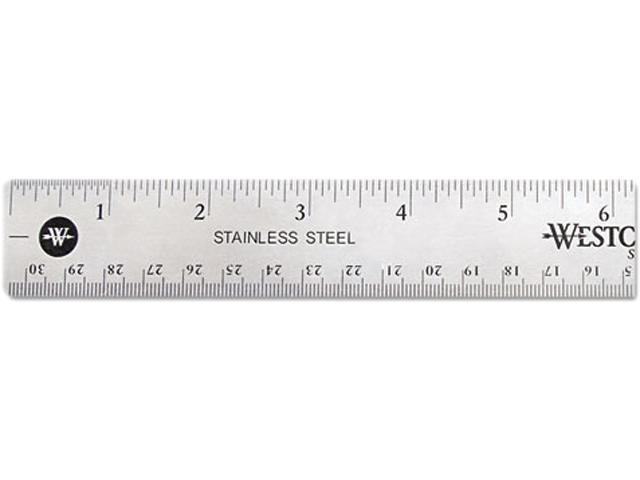 Westcott 10415 Stainless Steel Ruler w/Cork Back and Hanging Hole, 12
