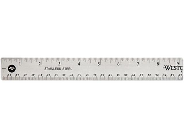 "Westcott 10417 Stainless Steel Ruler w/Cork Back and Hang Hole, 18"", Silver"