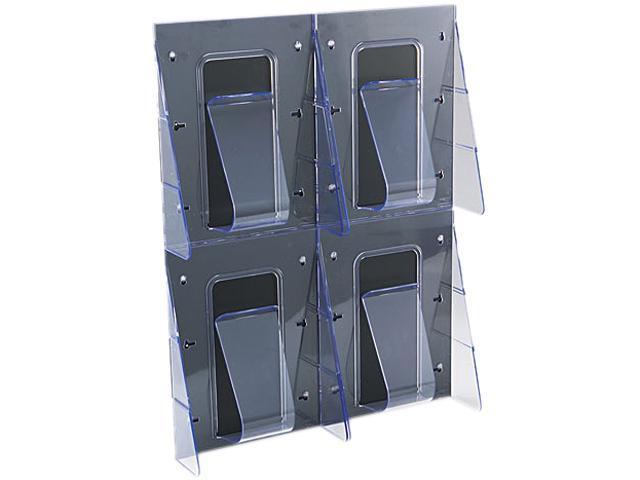 Multi-Pocket Wall-Mount Literature Systems, 18-1/4w x 2-7/8d x 23-1/2h,Clear/BK