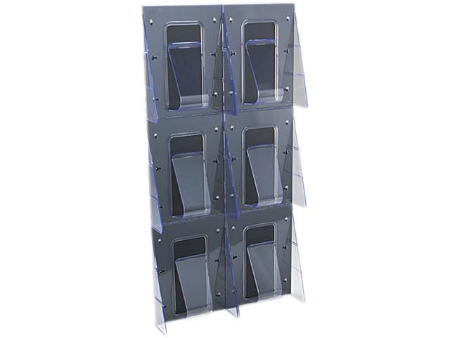 Multi-Pocket Wall-Mount Literature Systems, 18-1/4w x 2-7/8d x 35-1/4h,Clear/BK