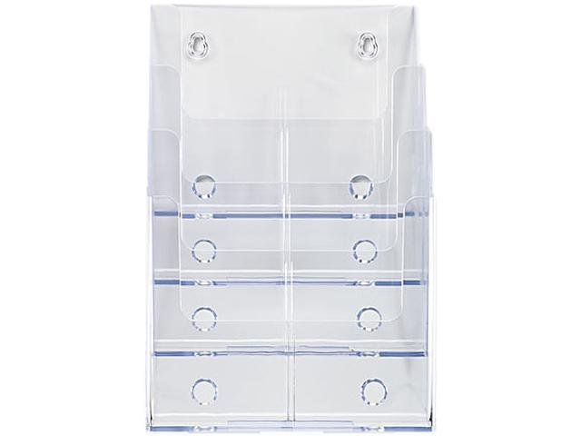 deflecto Multi Compartment DocuHolder, 4 Compartments, 9-1/4w x 7d x 13-1/2h, Clear