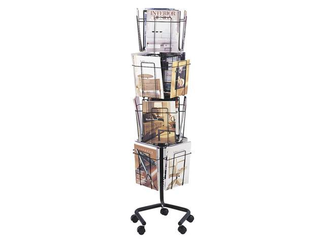 Safco Wire Rotary Display Racks, 16 Compartments, 15w x 15d x 60h, Charcoal