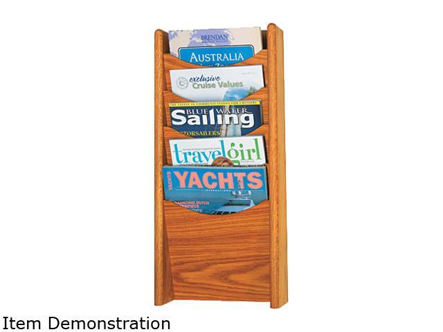 Safco Solid Wood Wall-Mount Literature Display Rack, 11-1/4 x 3-3/4 x 24, Medium Oak
