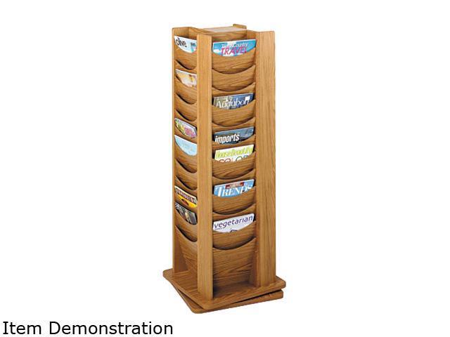 Rotary Display, 48 Compartments, 17-3/4w x 17-3/4d x 49-1/2h, Medium Oak