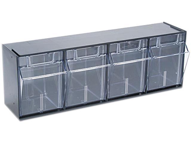 Deflect-o 20404OP Tilt Bin Plastic Storage System w/4 Bins, 23 5/8 x 6 5/8 x 8 1/8, Black
