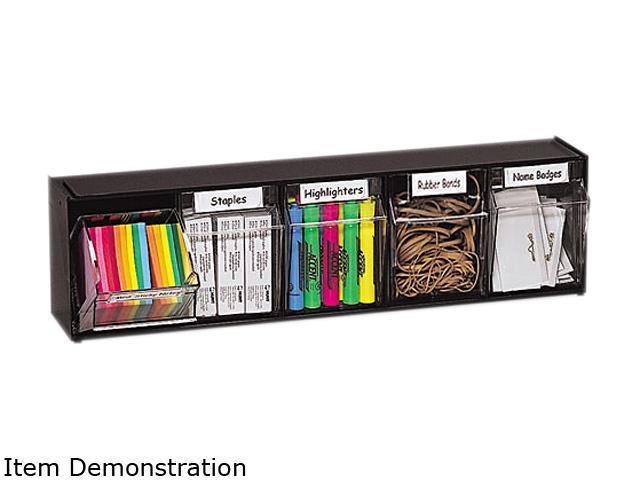 Deflect-o 20504OP Tilt Bin Plastic Storage System w/5 Bins, 23 5/8 x 5 1/4 x 6 1/2, Black