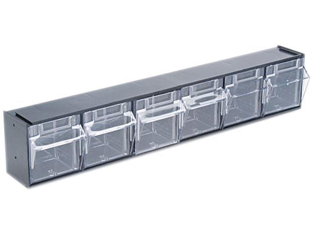 Deflect-o 20604OP Tilt Bin Plastic Storage System w/6 Bins, 23 5/8 x 3 5/8 x 4 1/2, Black