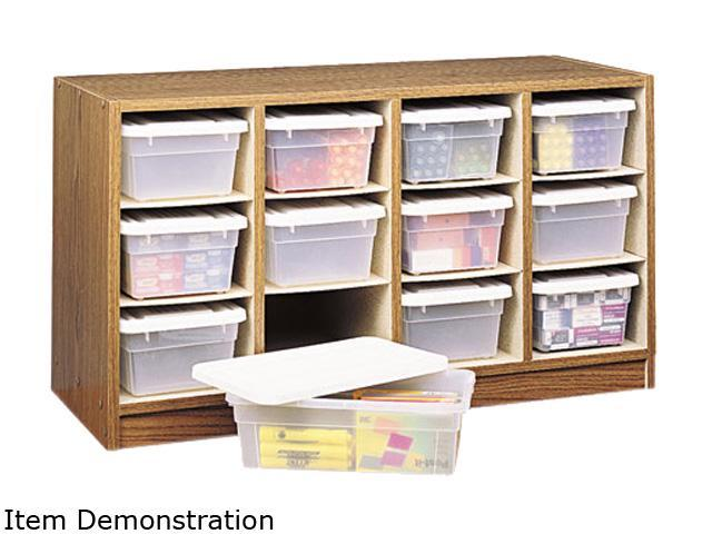 Safco 9452MO Modular Wood/Plastic 12-Bin Supplies Organizer, 34 x 13 x 19, Medium Oak/Clear