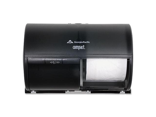 Georgia Pacific 56784 Compact Coreless Double Roll Tissue Dispenser, 10 1/8 x 6 3/4 x 7 1/8,Smoke/Gray