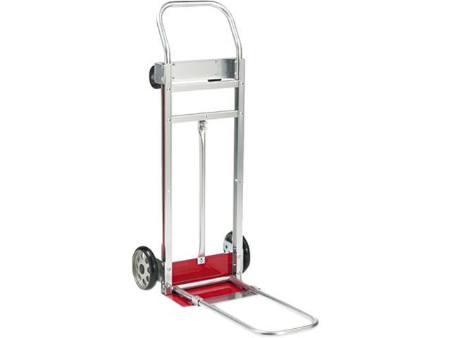 Safco 4074 3-Way Convertible Hand Truck Cart, 500-600lb Cap, 20-1/4 x 48, Aluminum/Red