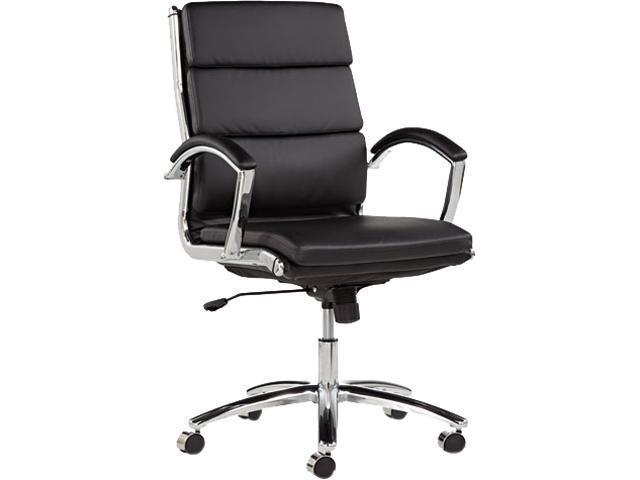 Alera Neratoli Series NR4219 (ALENR4219)Mid-Back Swivel/Tilt Chair, Black Leather, Chrome Frame