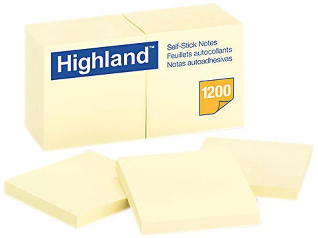 Highland 6549YW Self-Stick Pads, 3 x 3, Yellow, 100 Sheets/Pad, 12 Pads/Pack
