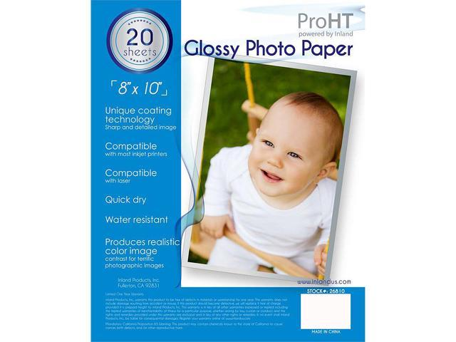 INLAND 26810 ProHT 20 Sheets Glossy Photo Paper 8 x 10