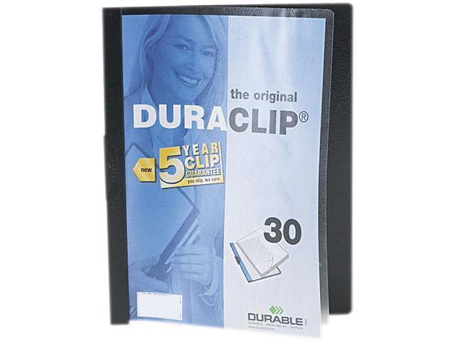 Durable 220301 DuraClip Report Cover w/Clip, Letter, Holds 30 Pages, Clear/Black