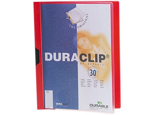 Durable 220303 DuraClip Report Cover w/Clip, Letter, Holds 30 Pages, Clear/Red