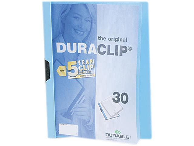 Durable 220306 DuraClip Report Cover w/Clip, Letter, Holds 30 Pages, Clear/Light Blue