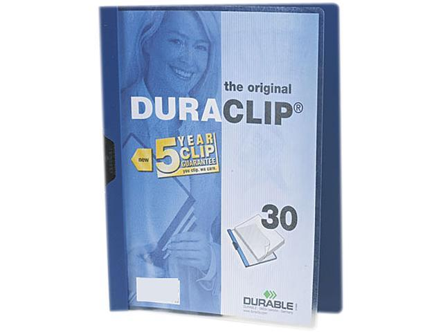Durable 220307 DuraClip Report Cover w/Clip, Letter, Holds 30 Pages, Clear/Dark Blue