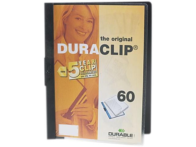 Durable 221401 DuraClip Report Cover w/Clip, Letter, Holds 60 Pages, Clear/Black