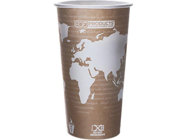 Eco-Products EP-BHC20-WAPK 20 oz World Art Hot Cups -  Tan - 50/Pack