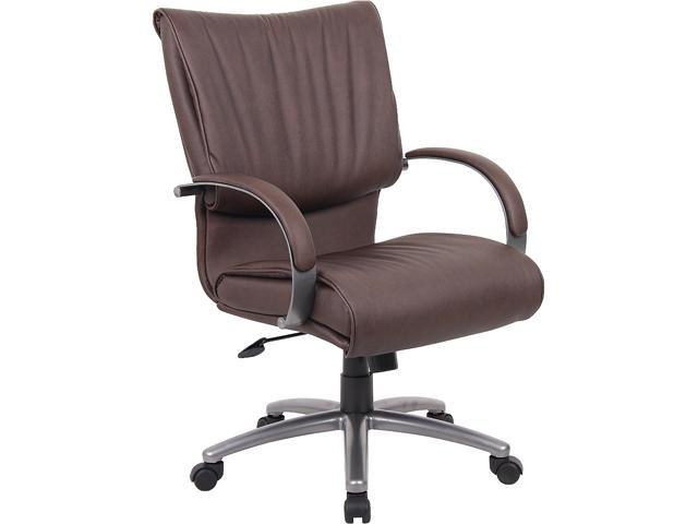 Boss Office Supplies B9706P-BB Mid Back Bomber Brown Leather Plus Chair With Chorme Base