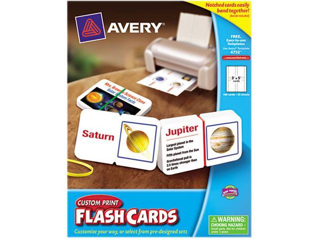 "Avery 4752 Custom Print Flash Cards, with Notch and Band, 3"" x 5"", 100 Cards"