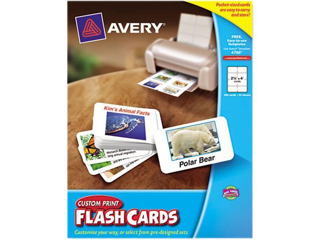 Avery 4760 Custom Print Flash Cards, 2-1/2