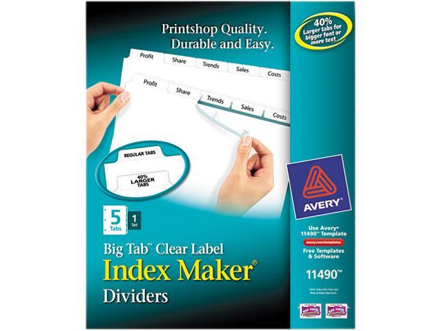 Index Maker Print & Apply Clear Label Dividers w/White Tabs 5-Tab Letter