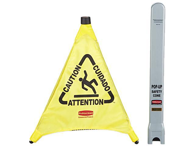 Rubbermaid Commercial RCP 9S00 YEL Multi-Lingual Caution Safety Cone,