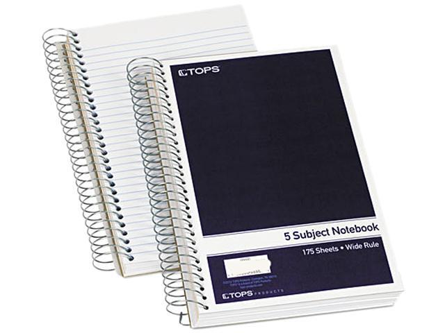 Tops 63859 5-Subject Notebook, 9.5 in x 6 in , Kraft Dividers, White